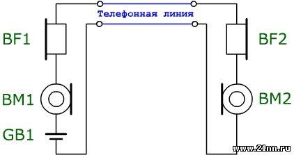 Схема для прозвонки линии с трубкой